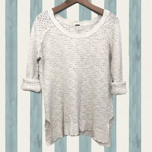 Free People Ivory Slub Knit Summer Sweater Size M